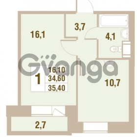 Продается квартира 1-ком 35.4 м² Областная улица 1, метро Улица Дыбенко