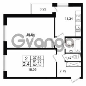 Продается квартира 2-ком 62.32 м² проспект Народного Ополчения 149, метро Проспект Ветеранов
