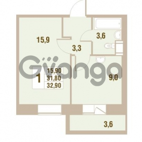 Продается квартира 1-ком 32.9 м² Областная улица 1, метро Улица Дыбенко