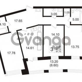 Продается квартира 3-ком 91.1 м² Ушаковская набережная 3, метро Черная речка