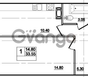 Продается квартира 1-ком 33 м² Центральная улица 83, метро Ладожская