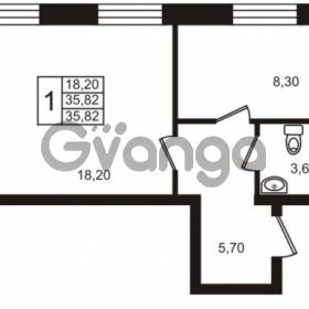 Продается квартира 1-ком 35 м² Центральная улица 83, метро Ладожская