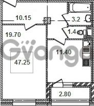 Продается квартира 1-ком 47.2 м² Кременчугская улица 9к 1, метро Площадь Восстания