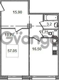 Продается квартира 1-ком 57.3 м² Кременчугская улица 9к 1, метро Площадь Восстания
