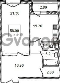 Продается квартира 1-ком 58.4 м² Кременчугская улица 9к 1, метро Площадь Восстания