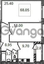 Продается квартира 2-ком 68.1 м² Кременчугская улица 9к 1, метро Площадь Восстания