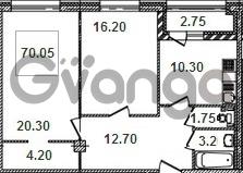 Продается квартира 2-ком 70.2 м² Кременчугская улица 9к 1, метро Площадь Восстания