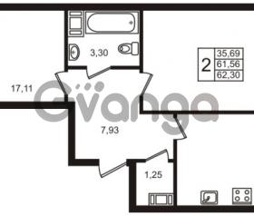 Продается квартира 2-ком 61 м² Центральная улица 83, метро Ладожская