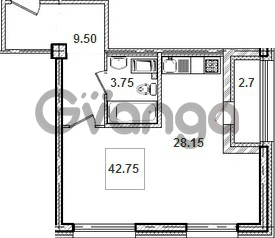 Продается квартира 1-ком 42.8 м² Кременчугская улица 9к 1, метро Площадь Восстания