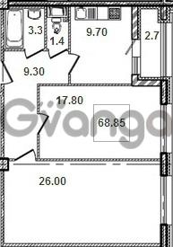 Продается квартира 2-ком 69.1 м² Кременчугская улица 9к 1, метро Площадь Восстания