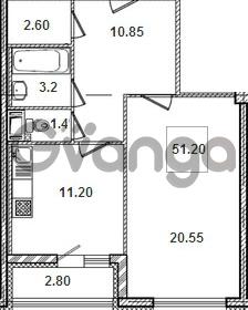 Продается квартира 1-ком 51.7 м² Кременчугская улица 9к 1, метро Площадь Восстания