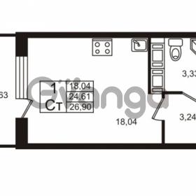 Продается квартира 1-ком 24 м² Столичная улица 1, метро Улица Дыбенко