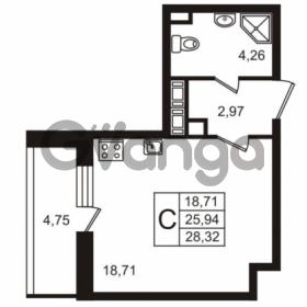 Продается квартира 1-ком 28.32 м² улица Пионерстроя 29, метро Проспект Ветеранов