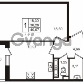 Продается квартира 1-ком 38.29 м² улица Пионерстроя 29, метро Проспект Ветеранов