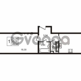 Продается квартира 1-ком 43 м² улица Пионерстроя 29, метро Проспект Ветеранов