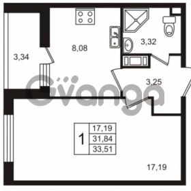 Продается квартира 1-ком 33.51 м² улица Пионерстроя 29, метро Проспект Ветеранов