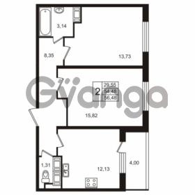Продается квартира 2-ком 54.48 м² улица Пионерстроя 29, метро Проспект Ветеранов