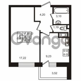 Продается квартира 1-ком 36.7 м² улица Пионерстроя 29, метро Проспект Ветеранов