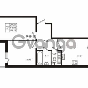 Продается квартира 2-ком 53.86 м² улица Пионерстроя 29, метро Проспект Ветеранов