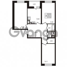 Продается квартира 3-ком 73.39 м² улица Пионерстроя 29, метро Проспект Ветеранов