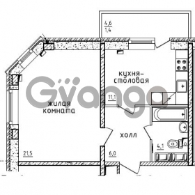 Продается квартира 1-ком 42.6 м² проспект Маршала Жукова 52, метро Проспект Ветеранов