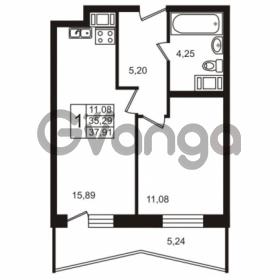 Продается квартира 1-ком 37.91 м² Лабораторный проспект 18, метро Лесная
