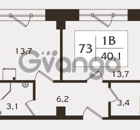 Продается квартира 1-ком 40.1 м² проспект КИМа 19Д, метро Приморская