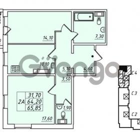 Продается квартира 2-ком 64.2 м² улица Николая Рубцова 1, метро Ладожская