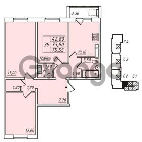 Продается квартира 3-ком 73.9 м² улица Николая Рубцова 1, метро Ладожская