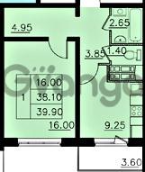 Продается квартира 1-ком 38.1 м² улица Николая Рубцова 1, метро Ладожская