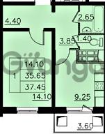 Продается квартира 1-ком 35.65 м² улица Николая Рубцова 1, метро Ладожская