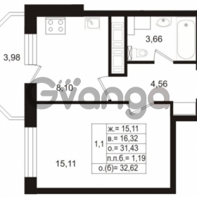 Продается квартира 1-ком 31.8 м² Воронцовский бульвар 2, метро Девяткино