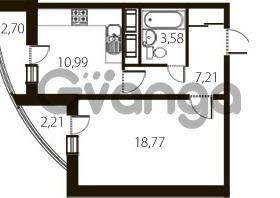 Продается квартира 1-ком 42 м² улица Катерников 1, метро Проспект Ветеранов