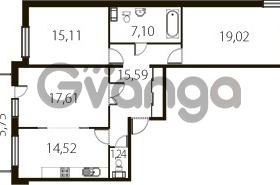 Продается квартира 3-ком 91 м² улица Катерников 1, метро Проспект Ветеранов
