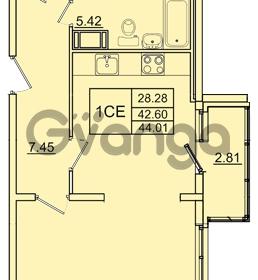 Продается квартира 1-ком 42.6 м² Колтушское шоссе 1к 3, метро Улица Дыбенко