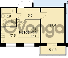 Продается квартира 1-ком 47 м² улица Адмирала Трибуца 5, метро Автово