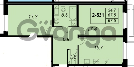 Продается квартира 2-ком 67 м² улица Адмирала Трибуца 5, метро Автово