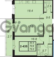 Продается квартира 2-ком 73 м² улица Адмирала Трибуца 5, метро Автово