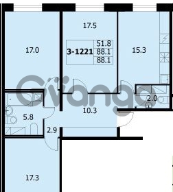 Продается квартира 3-ком 87.7 м² улица Адмирала Коновалова 2, метро Автово