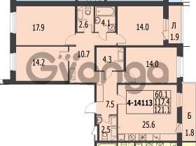 Продается квартира 4-ком 121.1 м² улица Адмирала Трибуца 7, метро Автово
