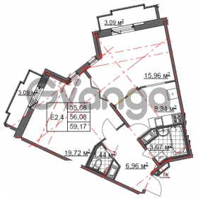 Продается квартира 2-ком 59 м² Шишканя 14, метро Ладожская