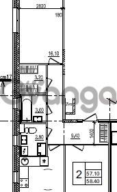 Продается квартира 2-ком 58 м² улица Крыленко 1, метро Улица Дыбенко