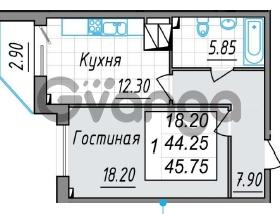 Продается квартира 1-ком 45 м² проспект Просвещения 85, метро Гражданский проспект