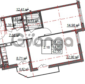 Продается квартира 2-ком 62 м² Шишканя 14, метро Ладожская