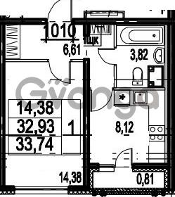 Продается квартира 1-ком 33.74 м² Парашютная улица 54, метро Комендантский проспект