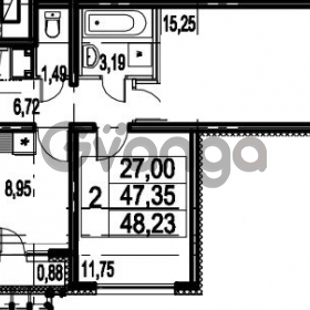 Продается квартира 2-ком 48.23 м² Парашютная улица 54, метро Комендантский проспект