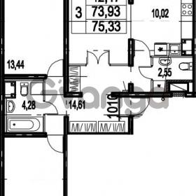 Продается квартира 3-ком 75.33 м² Парашютная улица 54, метро Комендантский проспект