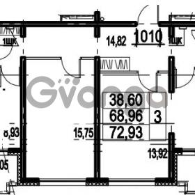 Продается квартира 3-ком 72.93 м² Парашютная улица 54, метро Комендантский проспект