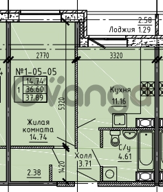 Продается квартира 1-ком 37 м² Советский проспект 24, метро Рыбацкое