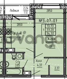 Продается квартира 1-ком 34 м² Советский проспект 24, метро Рыбацкое